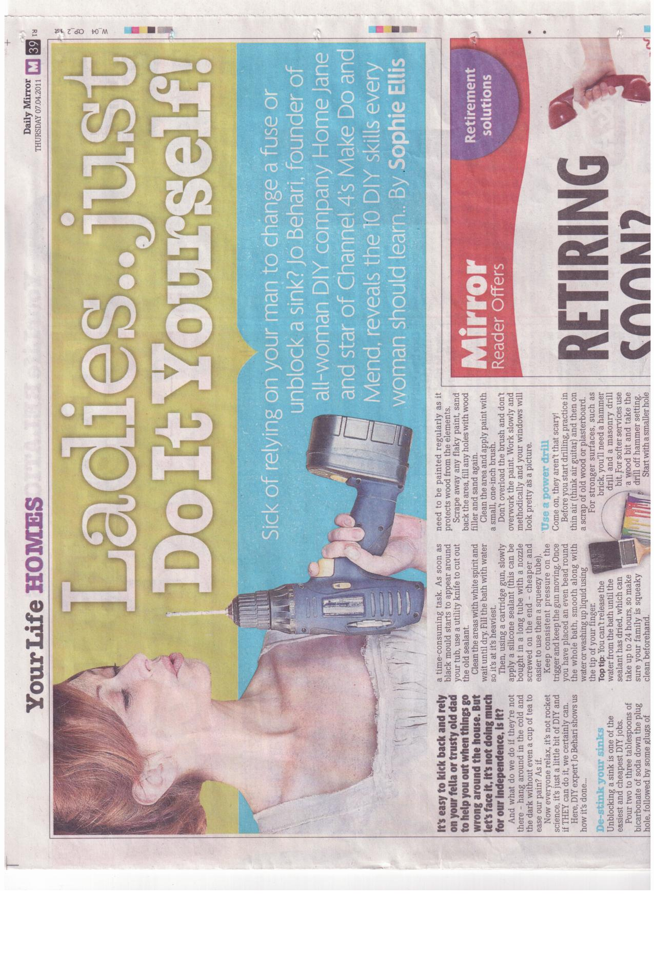 Daily Mirror April 2011